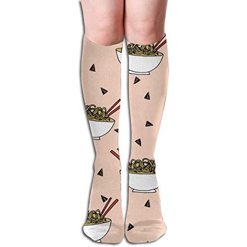 Generic Nudeln Lebensmittel Küche Stoff Asiatische Nudel Schüssel Erröten Frauen Rohr Kniehohe Strümpfe Cosplay Socken 50 cm (19,6 zoll)
