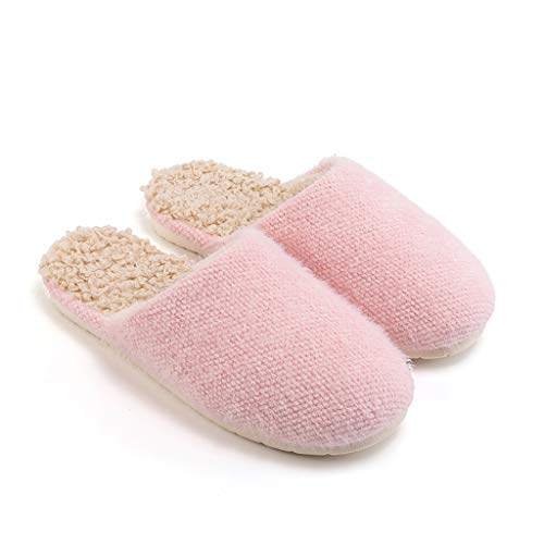 Pantuflas de felpa par de modelos de algodón para mujer en el hogar cálido invierno interior lana zapatillas hogar hogar plus terciopelo algodón zapatos hombre hogar zapatos (color: A, tamaño: 37-38)