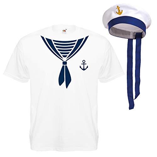Shirt-Panda Herren T-Shirt · Matrosen Kostüm · wahlweise mit Mütze Karneval Gruppen Fasching Seemann Verkleidung Party Matrosenmütze Darts Unisex Hut · Weiß (Druck Blau) mit Mütze 2XL