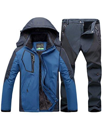 Qitun Hombre de Trekking Impermeable Deportivos Transpirable Pantalones Chaqueta de Esquí Impermeable Chaqueta de Nieve Excursionismo Conjunto DemAzul G M