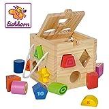 Eichhorn Steckwürfel aus Holz, Kiefernholz, Motorikwürfel mit 12 Steckbausteinen, Holzspielzeug...