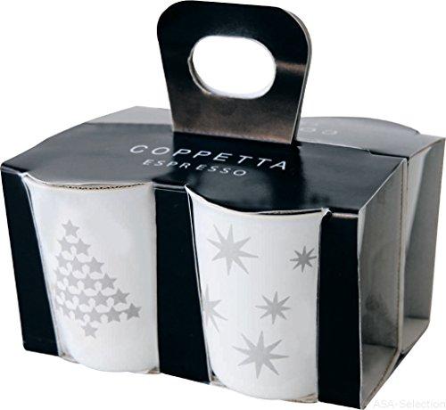 ASA COPPETTA 4er Set Espressobecher, Keramik, Silber - Weiß, 6.5 x 6.5 x 7 cm, 4-Einheiten