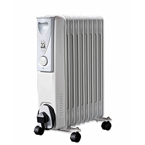 Daewoo Oil Filled 2000W Portable Radiator with Thermostat and Temperature Control - Ideal for Home, Garage or Office Use - White
