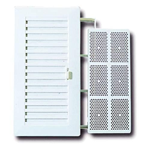 BricoLoco Rejilla de ventilación de plástico rectangular, tipo Shunt, con cierre regulable y mosquitera. Especial para baño y cocina. (1)