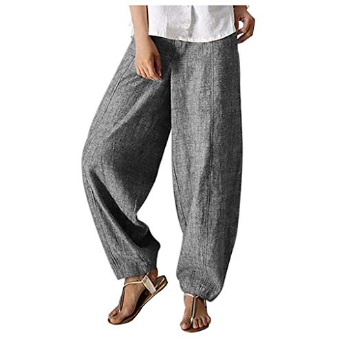 WUAI-Women Harem Pants with Elastic Waist Casual Relaxed Loose Fit Cotton Linen Pants Cropped Pants Capri(Grey,XX-Large)