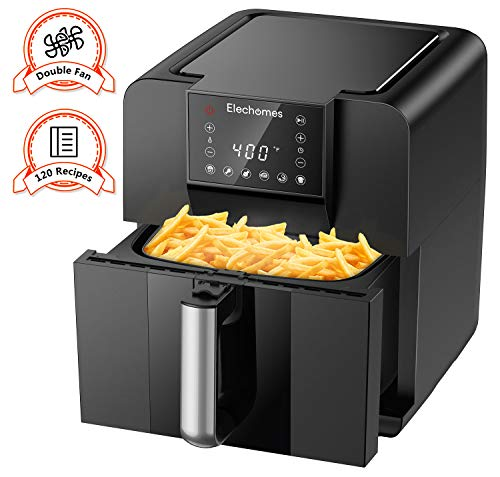 Elechomes AG61B Air Fryer, 6.3 Quart Oilless Electric Oven with Free 120 Recipes Book, Double Fan Design for Rapid Evenly Heating, LED Digital Touchscreen with 6 Smart Presets, BPA-Free Nonstick Basket