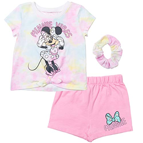 Disney Minnie Mouse Little Girls T-Shirt French Terry Shorts Set Pink/White 6-6X