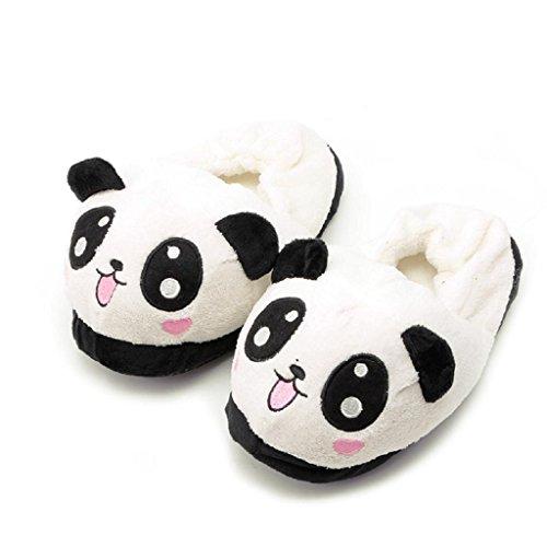 FURU Winter Hausschuhe,Baumwolle Pantoffeln,rutschfeste Slippers Mignon Yeux Panda Femmes Pantoufles Belle Cartoon Indoor Accueil Soft Shoes