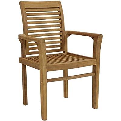 Sunnydaze Solid Teak Outdoor Armchair - Light Brown Wood Stain Finish - Slatted Chair - Patio, Deck, Lawn, Garden, Terrace or Backyard