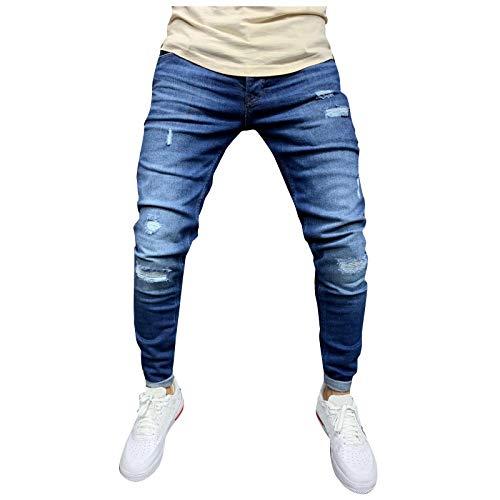 Ode-Joy Uomo Autunno Informale Denim Cotton Vintage Lavare Il Lavoro Hip Hop I Pantaloni - Jeans-Pantaloni Elasticizzati da Uomo, vestibilità Aderente, Pantaloni Chino a Gamba Dritta (M, Navy)