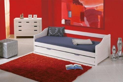 Set letto per bambini 2 in 1. Cornice letto bianca in legno massiccio con ulteriore letto estraibile a rotelle