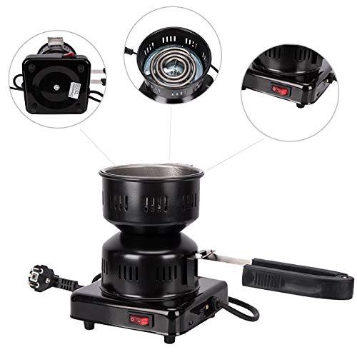 Kertou Electric Shisha Coal Encendedor Quemador de carbón Calienta hasta 600W / 1000W Hot Plate Burner con Revestimiento de carbón para carbón de carbón Shisha Coal (Negro-600W-Nuevo)