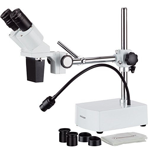 AmScope SE420Z Professional Binocular Stereo Microscope, WF10x and WF20x Eyepieces, 20X and 40X Magnification, 2X Objective, Tungsten Lighting, Boom-Arm Stand, 110V-120V