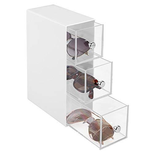 mDesign Caja para gafas de sol – Cajoneras de plástico para lentes con 3 cajones – Organizador de armarios para gafas, gafas de sol y gafas de lectura – blanco/transparente