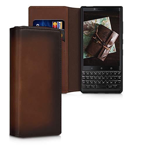 kalibri Hülle kompatibel mit BlackBerry KEYtwo (Key2) - aus edlem Leder - mit Kartenfächern & Stand - Hülle Vintage Braun