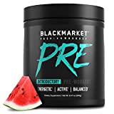 Blackmarket PRE Pre-Workout Dietary Supplement Powder - Energy Booster, Sports Drink, Muscle Fuel, Watermelon, 240 Gram