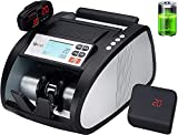 GStar Money Counter with Rechargeable Lithium-ion Battery & UV/MG/IR Counterfeit Bill Detection Plus External Displays with Total Value Counting Functionality, USA Brand