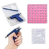 YUIP Pistola Perforadora Kit de Pistola de Perforación Corporal Perforación del Cuerpo Sin Dolor de Acero Inoxidable Nariz Herramienta de Perforación con 98pcs Pendientes Stud (Azul Profundo)