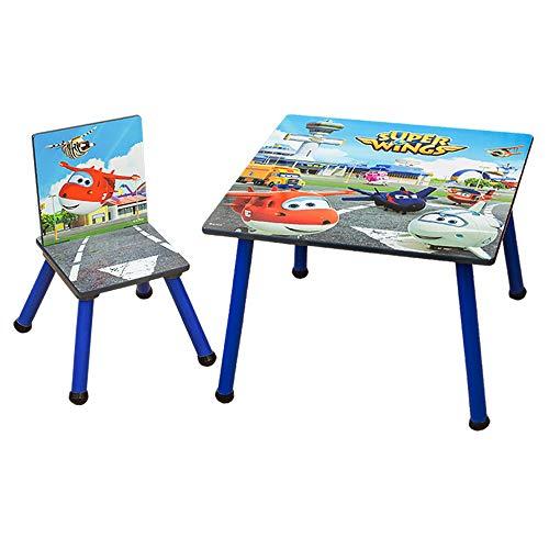 Style home Kinder Sitzgruppe Kindermöbel Tisch und Stuhl, Super Wings Sitzgarnitur für Kinder, Mädchen und Jungen, Holz (A-Tisch+Stuhl)