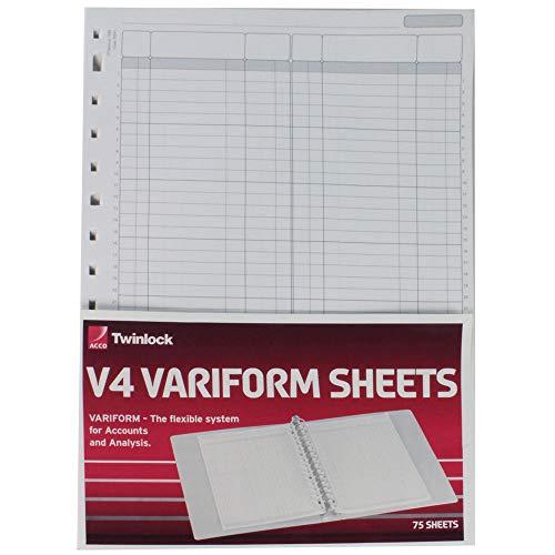 Rexel Twinlock V4 Variform - Hojas para libro de contabilidad dobles (75 unidades)