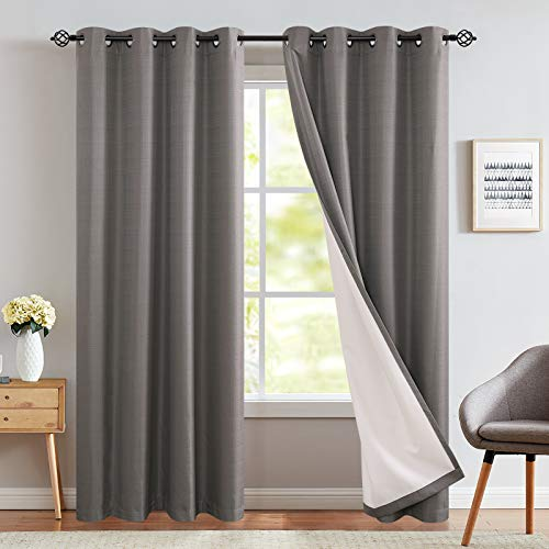 JINCHAN Blackout Curtains for Bedroom 84 Inches Length Grey Thermal Insulated Room Darkening Drapes Sold Individually One Panel