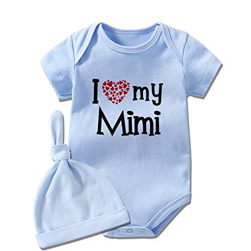 YSCULBUTOL Bebé Twins Body I Love My Mimi Lindo Ropa de Bebé Bebé Ducha Traje Bebé Niña Ropa de Navidad - azul - 3-6 meses