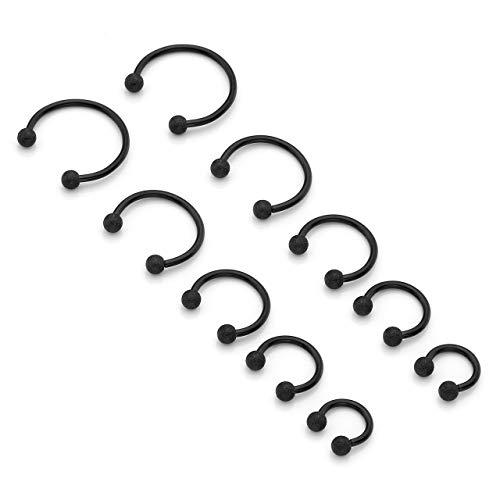 JSDDE Piercing Edelstahl 10 Stück Set 16G Nasenpiercing Stecker Septum Hufeisen Ohr Tragus Ring Helix Knorpel stab Augenbrauen Lippen Körper Circular Barbell Piercing Schwarz 6mm-14mm