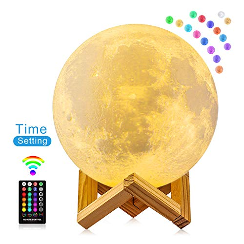 Moon Lamp, FIRPOW 5.9 inch 3D Moon Night Light with Stand, Touch & Remote Control and USB...