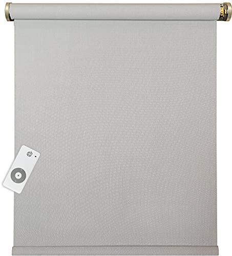 Estor eléctrico a medida con mando a distancia, color gris y blanco, 5% transparente (1 unidad)