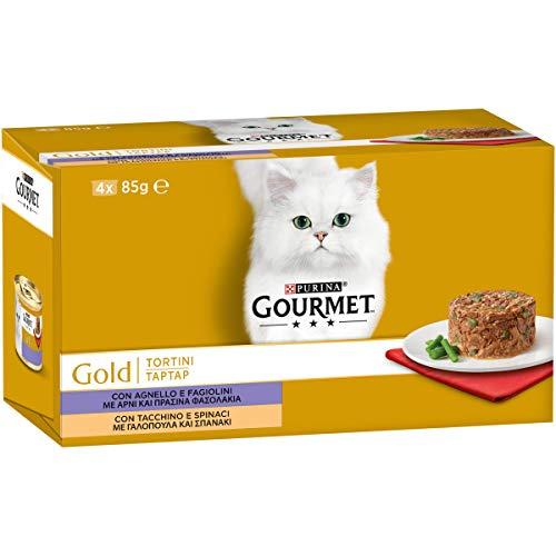 PURINA GOURMET GOLD Umido Gatto Tortini con Agnello e Fagiolini, con Tacchino e Spinaci - 48 lattine da 85g ciascuna (12 confezioni da 4x85g)