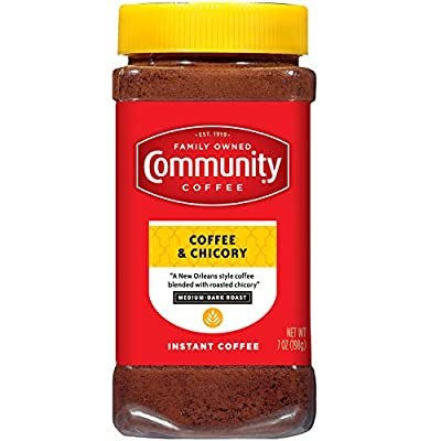 Community Coffee Instant Coffee and Chicory Blend, 7 Ounces (Pack of 4)