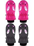 2 Pairs Child Ski Gloves Toddlers Waterproof Snow Mittens for Boys Girls (Black, Rose Red, 3-5T)