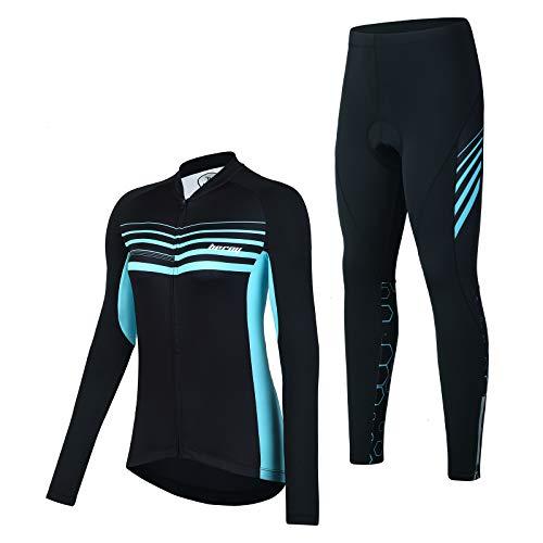 Women Cycling Jerseys with Three Pockets,Bike Jerseys for Girls(S Blue)