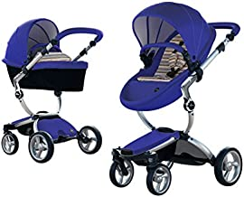Mima Xari Stroller Authorized Seller (Aluminum Chassis, Blue Seat, Autumn Stripes Starter Pack)