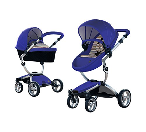 Best Review Of Mima Xari Stroller Authorized Seller (Aluminum Chassis, Blue Seat, Autumn Stripes Sta...