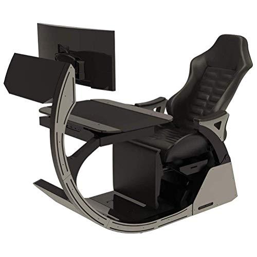 N/Z Living Equipment Videospielstühle Gaming Chair Ergonomisches Computer-Cockpit Happy Chair Esports Chair mit bequemem Hals und lumbaler Wirbelsäule ermüdend (Farbe: Schwarz)