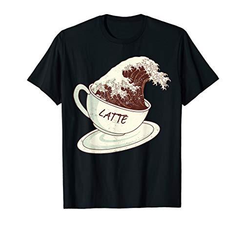 Große Wellen Café Latte-Kaffee Kanagawa Hokusai Great Wave T-Shirt