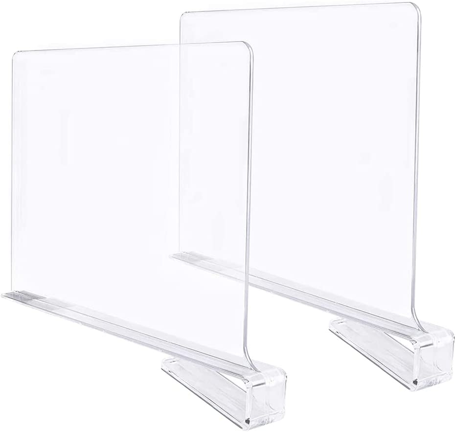 BlingGlow 2 Pieces Clear Acrylic for Shelf Closet San Diego Mall Dividers Wood Popular standard