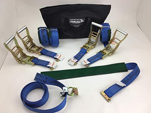 4 Pack Ultimate Horizontal E-Track Wheel Strap in Blue Diamond Weave with Bag