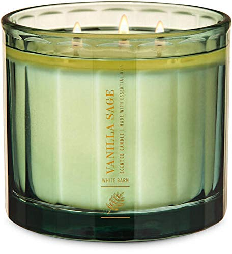 White Barn Candle Company Bath and Body Works 3-Wick Scented Candle w/Essential Oils in Luxe Paneled Jar - 14.5 oz - Vanilla Sage (Frosted Sage, Fresh Pine Needles, White Lavender, Vanilla Crème)