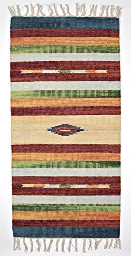 Sobel - Alfombra Kilim New Gabbeh de 55 x 110 cm, rayas azul, verde, marrón, naranja