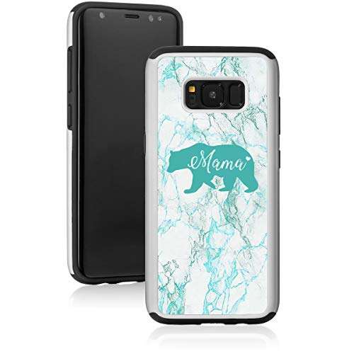 Marble Shockproof Impact Hard Soft Case Cover for Samsung Galaxy Mama Bear Mom Mother (Teal, for Samsung Galaxy S7)