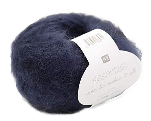 Rico Essentials Super Kid Mohair loves Silk, Fb. 024 – Midnight Blue, Lacegarn aus Super Kid Mohair & Seide zum Stricken und Häkeln, Lacewolle Nadelstärke 4,5 mm