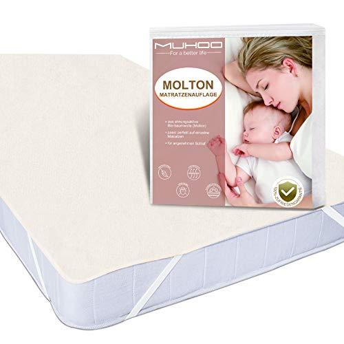 MUHOO Matratzenschoner 90 x 200 cm 2er Set Moltonauflage aus 100% Baumwolle Matratzensuflage Atmungsaktive Matratzenschutz für Allergiker