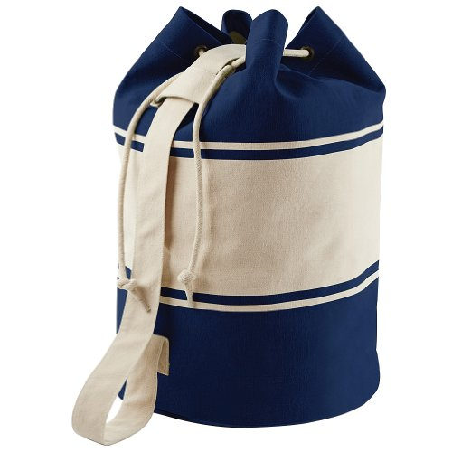 Quadra Unisex Canvas Duffle Cotton One Size Sports Gym Strong Shoulder Strap Bag - Navy - Natural