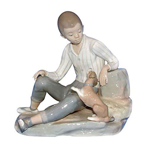 Lladro Figurine, 4755 Boy with Dog
