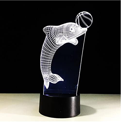 Lámpara De Círculo De Fútbol Con Delfines, Lámpara De Mesa Creativa, Novedad Visual Led 3D, Luz De Noche Usb, Regalos Para Niños, Iluminación Para Dormir Con Animales