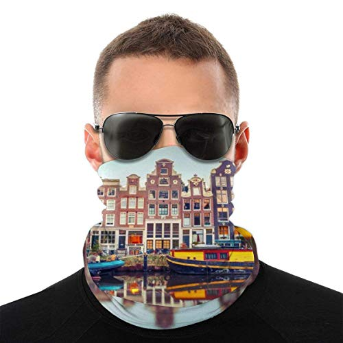 WCUTE Amsterdam Canal Night City Stirnband Bandanas Magic Headwrap Magic Face Schal Headwear Magic Scarf zum Wandern Reiten Motorradfahren