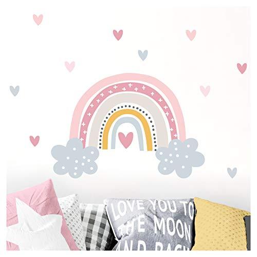 Little Deco Wandaufkleber Regenbogen mit Herzen I 56 x 38 cm (BxH) I Wolken Wandsticker Wandtattoo Mädchen Kinderzimmer Deko Bilder Sticker Aufkleber DL479