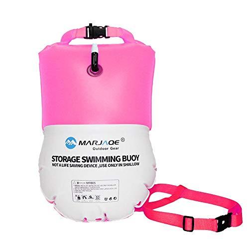 Bolsa seca impermeable de 20 l, boya de natación ultraligera y flotador de seguridad para triatletas de agua abierta, kayak, buceo, surfistas, playa, natación, barco con cinturón ajustable, hot pink